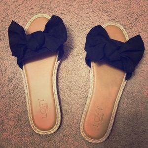 Loft Sandals Black Bow Size 7